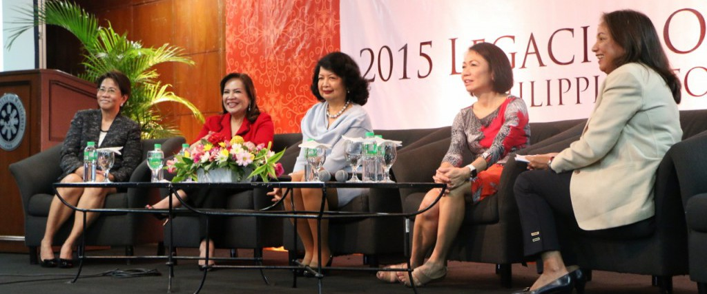 Panelists Garcia, Zamora, Natividad, Mantaring and Hontiveros at the 2015 Legacies of Women in Manila